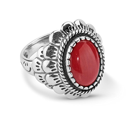 American West Sterling Silver Red Coral Gemstone Oval Scallop Ring Size 6 ()