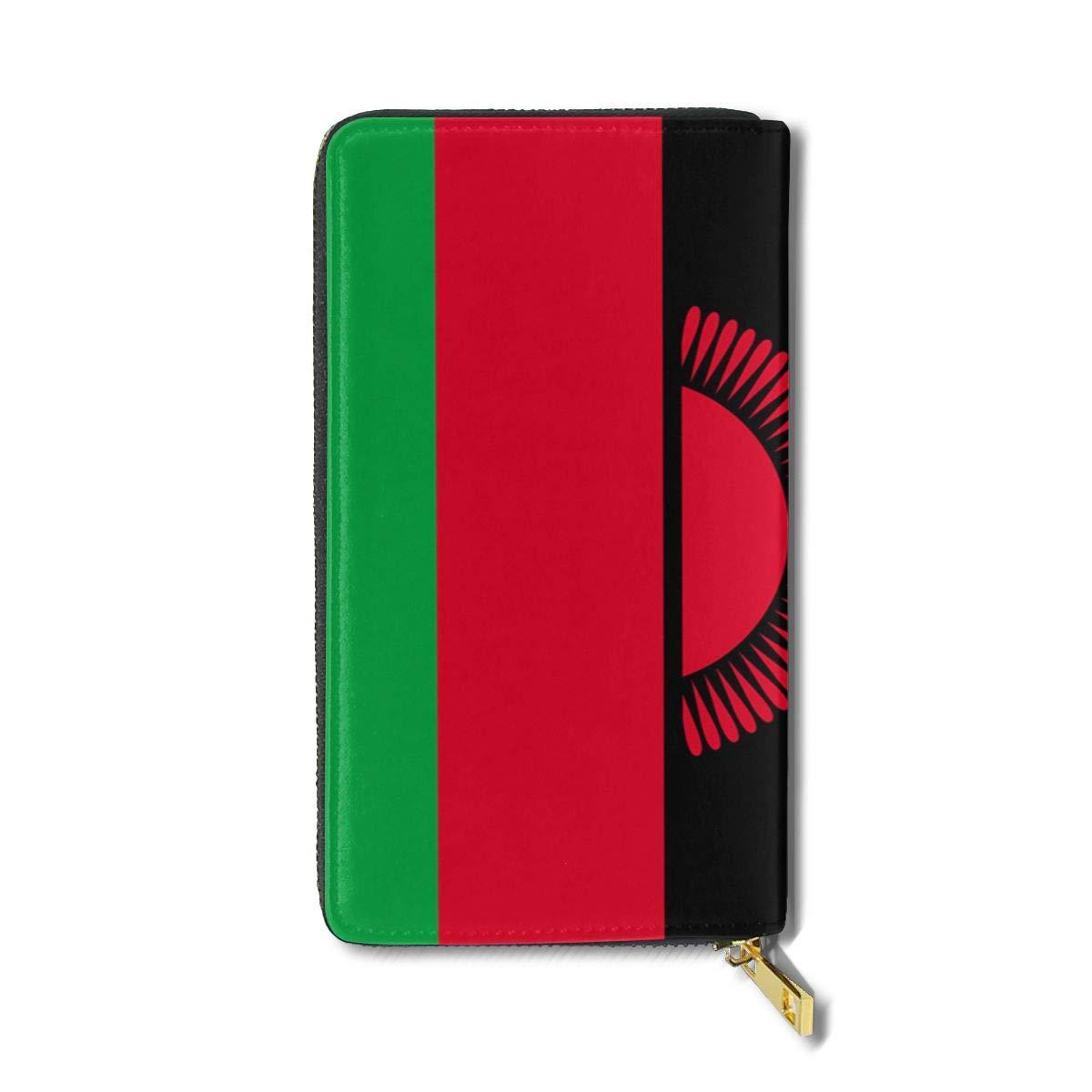 Caesar Melville Flag of Malawi Coin Purse Canvas Bags Leather Long Wallet Handbag