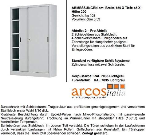Arcos Italia Armadio Metallico archivio da cm 150x45x200 Ante scorrevoli con Serratura/_Made in Italy