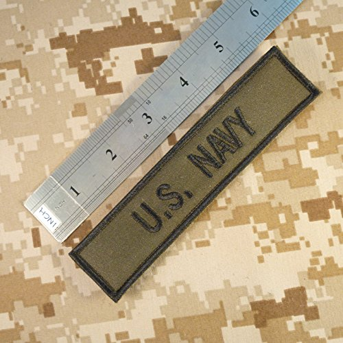 2AFTER1 US Navy USN Name Tape Olive Drab OD Green Embroidery Military Fastener Patch 2