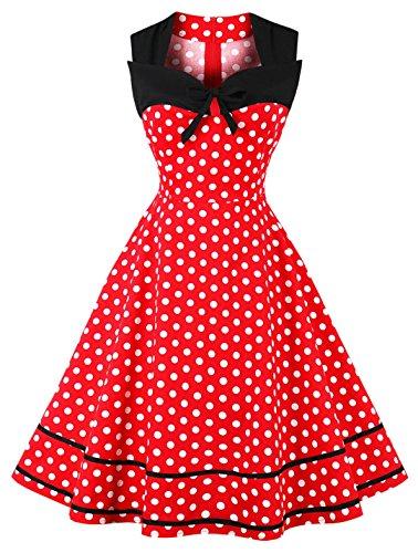 Ayli Women's Portrait Sleeveless White Polka Dot on Red 50s Retro Midi Dress, US-10/Tag-L/02w122 - Retro Polka Dot Dress