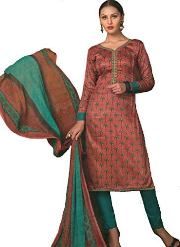 Exotic India Rose of Sharon Printed Trouser Salwar Kameez Suit with Embro - Pink Size Large (Kameez Trouser)