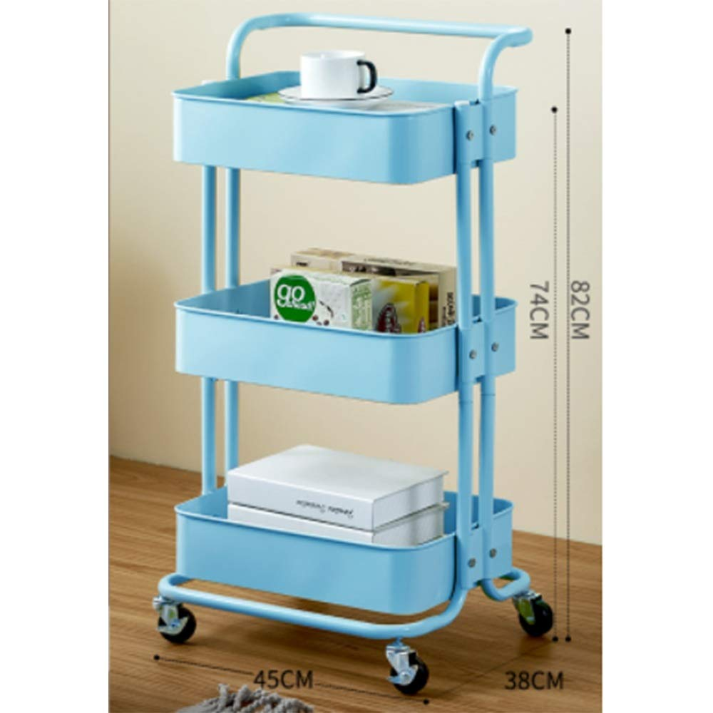 Kitchen shelf HUO 3-Layer Service Trolley Handle Metal Mesh Rolling Practical Organization Trolley Rack-3color-453882cm Multifunction (Color : Blue) by Kitchen shelf (Image #1)
