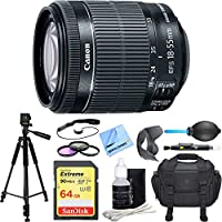 Canon EF-S 18-55mm f/3.5-5.6 IS STM Lens Deluxe Accessory Bundle includes Lens, 64GB SDXC Memory Card, Tripod, 58mm Filter Kit, Lens Hood, Bag, Cleaning Kit, Beach Camera Cloth and More