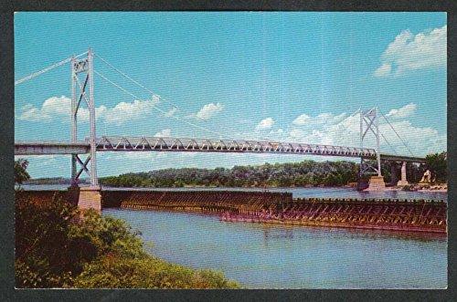 Gateway Bridge crossing Mississippi River Clinton IA postcard - Crossing Clintons
