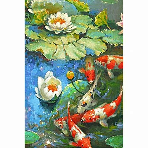 16x20 Inch Rhinestone Cross-stitch Koi Fish Water Lily DIY Diamond Painting Kits Arts, Crafts & Sewing 5D Diamond Painting