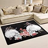 Naanle Floral Roses Skull Area Rug 3'x5', Day of The Dead Vintage Polyester Area Rug Mat for Living Dining Dorm Room Bedroom Home Decorative