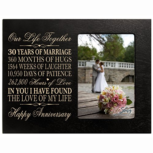 LifeSong Milestones 30 Year Anniversary Picture Frame Gift for her him Couple Custom Engraved 30th Year Wedding Celebration for Husband Wife Photo Frame Holds 1 4x6 Photo 8