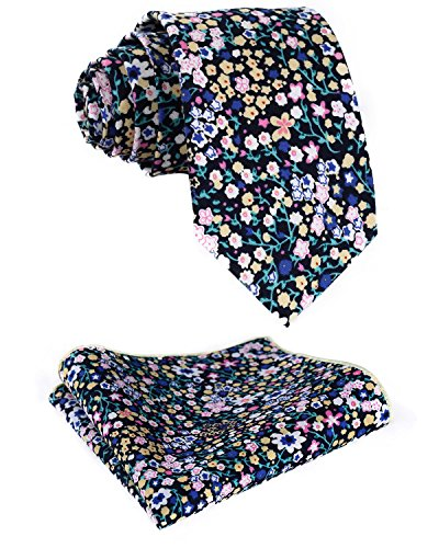 Navy And Yellow 7 inches HISDERN Necktie Width Pocket 75 cm Square Aqua Set Blue 2 Men's Necktie Floral in qS7gZ