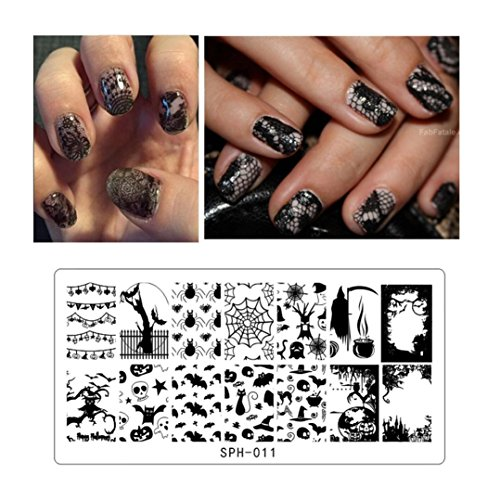 Leewa@ Holiday Themed Nail Art Stamping Plates - Occasions Collection, Halloween+Christmas -6x12cm (B)