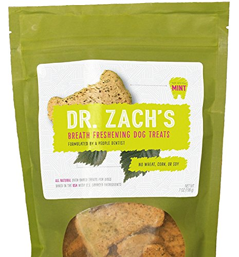 Dr. Zach's All Natural Breath Freshening Dog Treats/Grain Free/Peanut Butter and Mint Flavor/7 (Gentle Leader Treats)