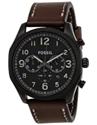 Fossil Men's Foreman FS4887 Brown Leather Quartz Watch with Black Dial