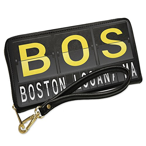 Wallet Clutch BOS Airport Code for Boston - Logan, MA with Removable Wristlet Strap - Shops Airport Logan Boston