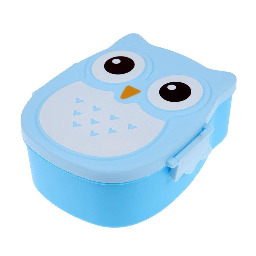 Brotdose Mit trennwand Kinder 2 Fächer Brotbox Ausflug Lunchbox Apfel Dose Cartoon Eule Bento Box leicht tragbar Frühstücksbox für Kindergarten Schule Picknick (Blau) Peakpet