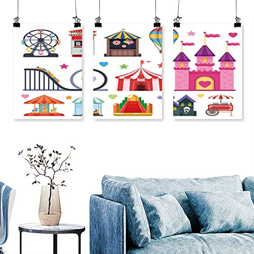 SCOCICI1588 Three Consecutive Painting Frameless Amusement Park Objects Set Extreme Inflatable to Hang for Living Room No Frame 24 INCH X 40 INCH X 3PCS]()