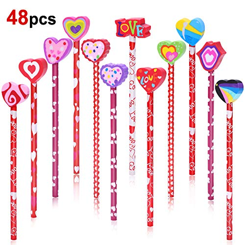 Konsait 2 Dozen (24) Valentine Pencils Assortment with Giant Eraser Topper Decorated with Love Hearts, Candies, Stars for Valentine's Day accessories Party Bag Goodie Bag Filler Favor Supplies Teacher