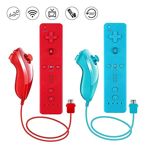 Lactivx Wii Remote Controller,2 Packs Wireless Gesture Controller with Silicone Case and Wrist Strap for Nintendo Wii Wii U Console (Blue and Red) ()