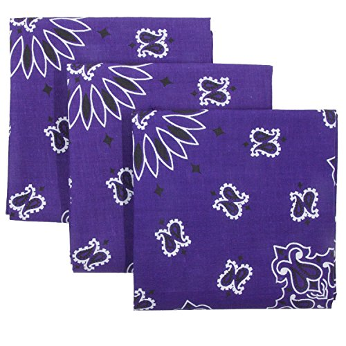 Purple Bandana 3-Pack - Made in USA For