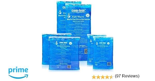 COM-FOUR® Pack ahorro de compresas multiusos, 3 tamaños distintos, bolsas frío y calor, aptas para microondas, 2 pequeñas, 2 medianas, 2 grandes