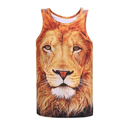 Men's T-Shirts Graphic Music,Men's Fashion Lion 3D Print Slim Fit Sleeveless Singlet T-Shirt Top Vest Tank,Yellow,2XL
