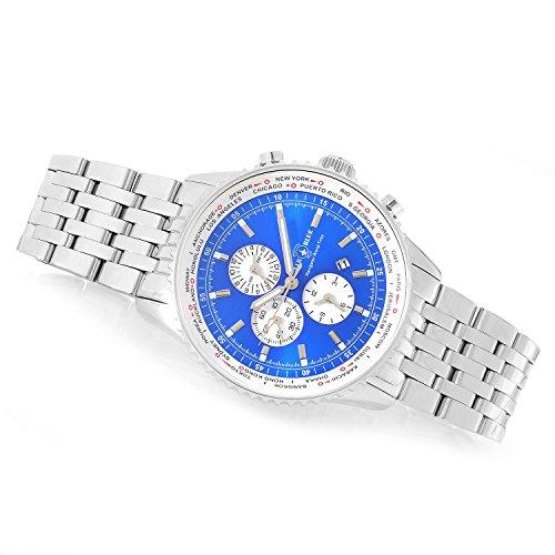 Air-Blue-45mm-Navigator-Quartz-World-Time-Sapphire-Crystal-Stainless-Steel-Bracelet-Watch