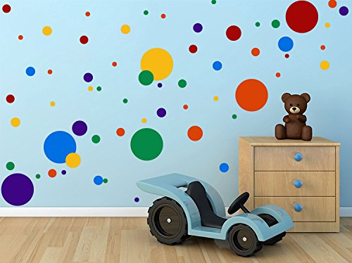 DCTOP Polka Dots Wall Decals(132 Decals) Easy to Peel&Stick Polka Dots Wall Decals Safe on Walls Paint Removable Primary Colors Vinyl Polka Dot Decor Round Wall Stickers for Nursery Room (Multicolor) by DCTOP