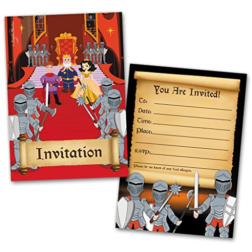 - Party Invitation Cards, 20 Cards with 20 Envelopes, Knights Themed, Made for Kids, Flat Style, Colorful Design, Birthday Invitations, Party Invitations, Invitation Card, Birthday Party Invitations