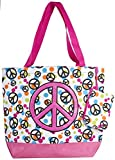 Ever Moda Peace Sign Large Tote Bag (Pink)