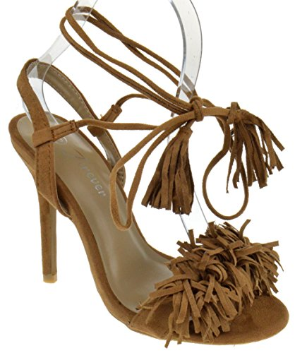 Rubina 57 Womens Fringe Open Toe High Heel Sandals Tan 7