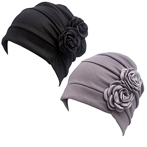HONENNA Ruffle Chemo Turban Headband Scarf Beanie Cap Hat for Cancer Patient (Black+Gray) (Women Chemo Hats)