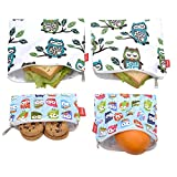 4 PCS Reusable Sandwich & Snack Bags, Eco Friendly and Safe Sandwich Bags