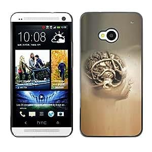 Qstar Arte & diseño plástico duro Fundas Cover Cubre Hard Case Cover para HTC One M7 ( Brain Human Anatomy Art Drawing Painting Head)