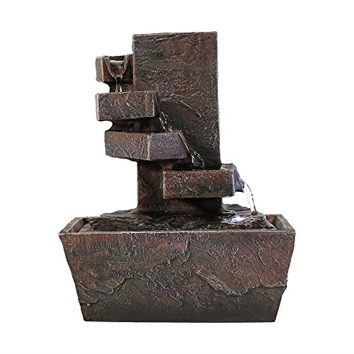 Sunnydaze Spiral Staircase Tabletop Water Fountain with LED Light