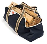 Smiling Hosts Log Carrier for Firewood - Collapsible, Dust-Proof Wood Bag Design - Soft Grip Handles - Heavy Duty Large Size Tote - Best Firewood Bag for Carrying Wood for Your Fire