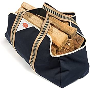 2 Handle Log Carrier for Firewood - Collapsible, Dust-Proof Wood Bag Design - Comfortable Soft Handles - Heavy Duty Large Size Tote - Best Bag for Carrying Wood for Your Fire - 22 x 9 x 14""