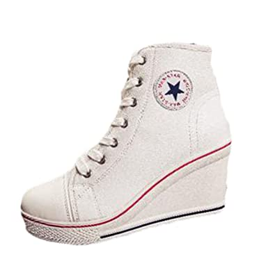 5a0ff7381 cnWay Women Canvas Wedge Sneaker Ladies Lace Up Side Zip High Top Sneaker  Boots Pump Sport Shoes Wedges Sneakers Sneakers Heels Platform ...