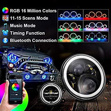 7inches LED Headlamp SUPAREE 7 inches RGB Headlights with Amber Turn Signal 4 inches RGB Fog Lights 4.5 inches Front Bumper Lights with RGB Halo Ring for Jeep Wrangler 1997-2017 JK TJ LJ