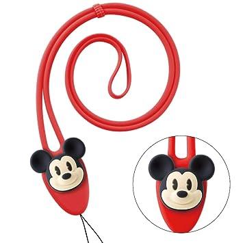 Disney ディズニー キャラクター ネック ストラップ キッズ 携帯 スマホ シリコン製 防汗 長さ調節可能 落下防止 おしゃれ カラフル  ペアルック プレゼント おもちゃ / ミッキーマウス(レッド) Charm Lanyard Plus