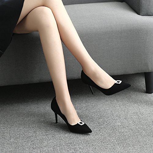 alta zapatos profundas Heel Shoes perforación punta con solo el temperamento poco de mujer zapatos Black para Heel Shoes con aguas la fina La fina de alto a1qPP6