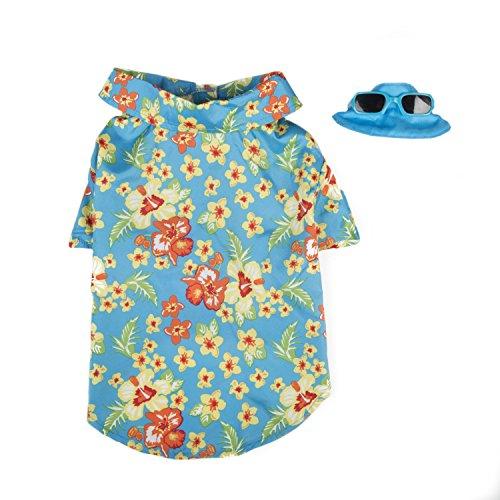 SimplyDog Hawaiian Shirt and Hat Set, Small, - Chart Measurement Sunglasses