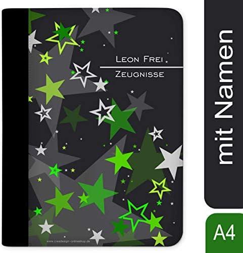 CreaDesign, Z-M-1030-04 Kinder Zeugnismappe mit Namen personalisiert, Motiv Sternenhimmel Grün, A4, 24 x 31 x 1 cm, mit 10 Klarsichthüllen, Rücken schwarz