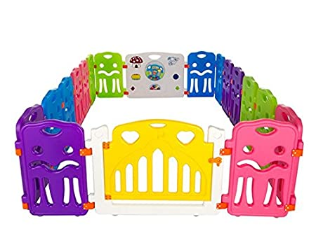 Cannons Plastic Baby Den Playpen with Games Station (Small Panels, 160 x 80 cm) plays8+2