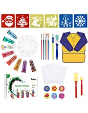 Anpro Finger Painting ,Children's Drawing Brush Set, 38 Pieces of Children's Drawing, Early Learning Children's Paint Set, Washable Finger Paint