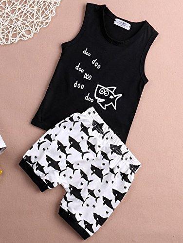 Baby Boys 3D Cartoon Shark Letters Printed Vest T Shirt Tank Top+Shorts Pants Summer Beach Outfits Set