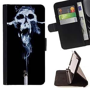 Devil Case- Estilo PU billetera de cuero del soporte del tirš®n [solapa de cierre] Cubierta FOR Samsung Galaxy S4 Mini i9190 I9192- Skull Devil Pattern