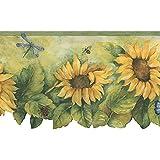 Bg71362dc Dark Green Yellow Sunflower Insect Wallpaper Border Home Improvement