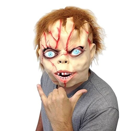 [Mememall Fashion Evil Chucky Head Mask Halloween Cosplay Party Ghost Puppet Costume Theater Prop] (Wicked Jester Deluxe Adult Mens Costumes)