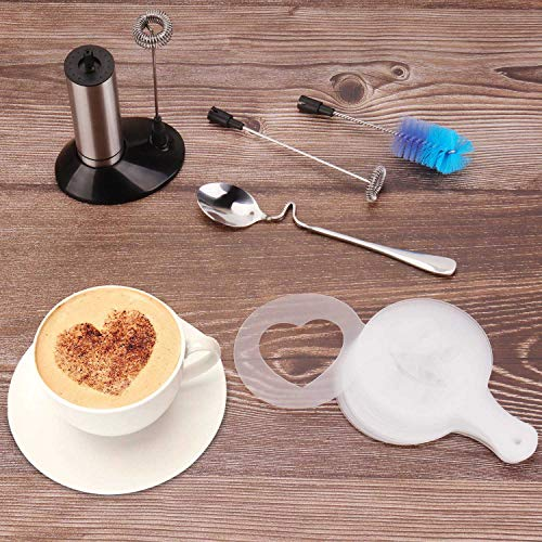 Portable Milk Frother, PEMOTech [3 in 1] Electric Milk Forther with Mix Spoon & 16 PCS Art Stencils, Handheld Frother Foam Maker with Double & Single Spring Whisk Head for Coffee, Cappuccino, Latte by PEMOTech (Image #7)