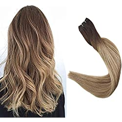 Full Shine Color #3 Fading to #8 and #22 Weft Hair 100% Human Hair Weft Remy Hair Extensions Straight Hair Weft Extensions 18 inch Real Hair Full Head Each Bundle 100grams Brazilian Hiar Wefts