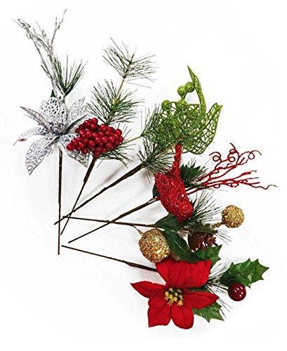 Christmas Flower Arrangements.Set Of 6 Christmas 9 Floral Pick Greenery Decor Ornament Picks Perfect For Christmas Floral Arrangements And Any Winter Decor